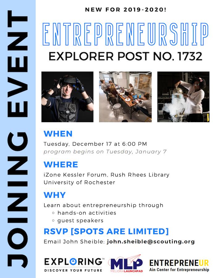 Flyer announcing the joining event on December 17 for the Entrepreneurship explorer post