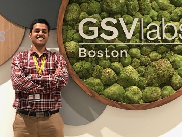 Guru Prasad in front of GSVlabs sign