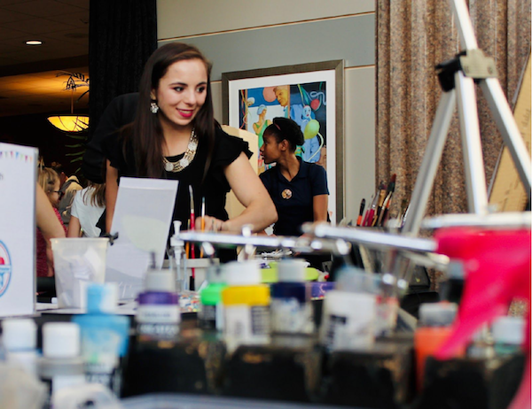 Sophia Rosman working her booth during the Maker Faire
