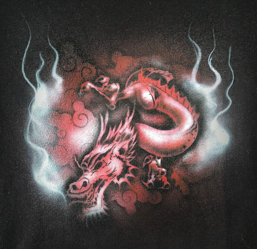 This is one of the custom shirts I airbrushed live at Maker Faire Rochester.