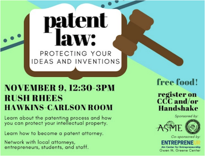 Promotional poster for Patent Law event