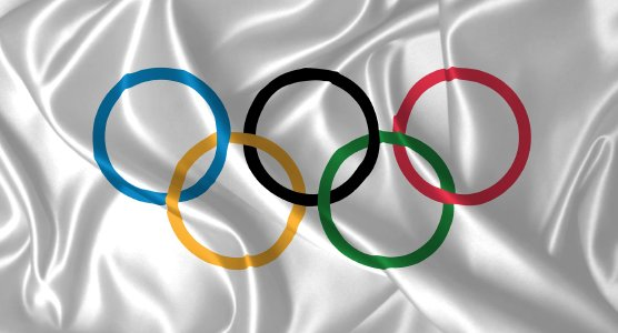 Flag with Olympic games symbol