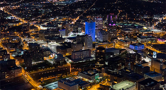 aerial photo of downtown Rochester at night