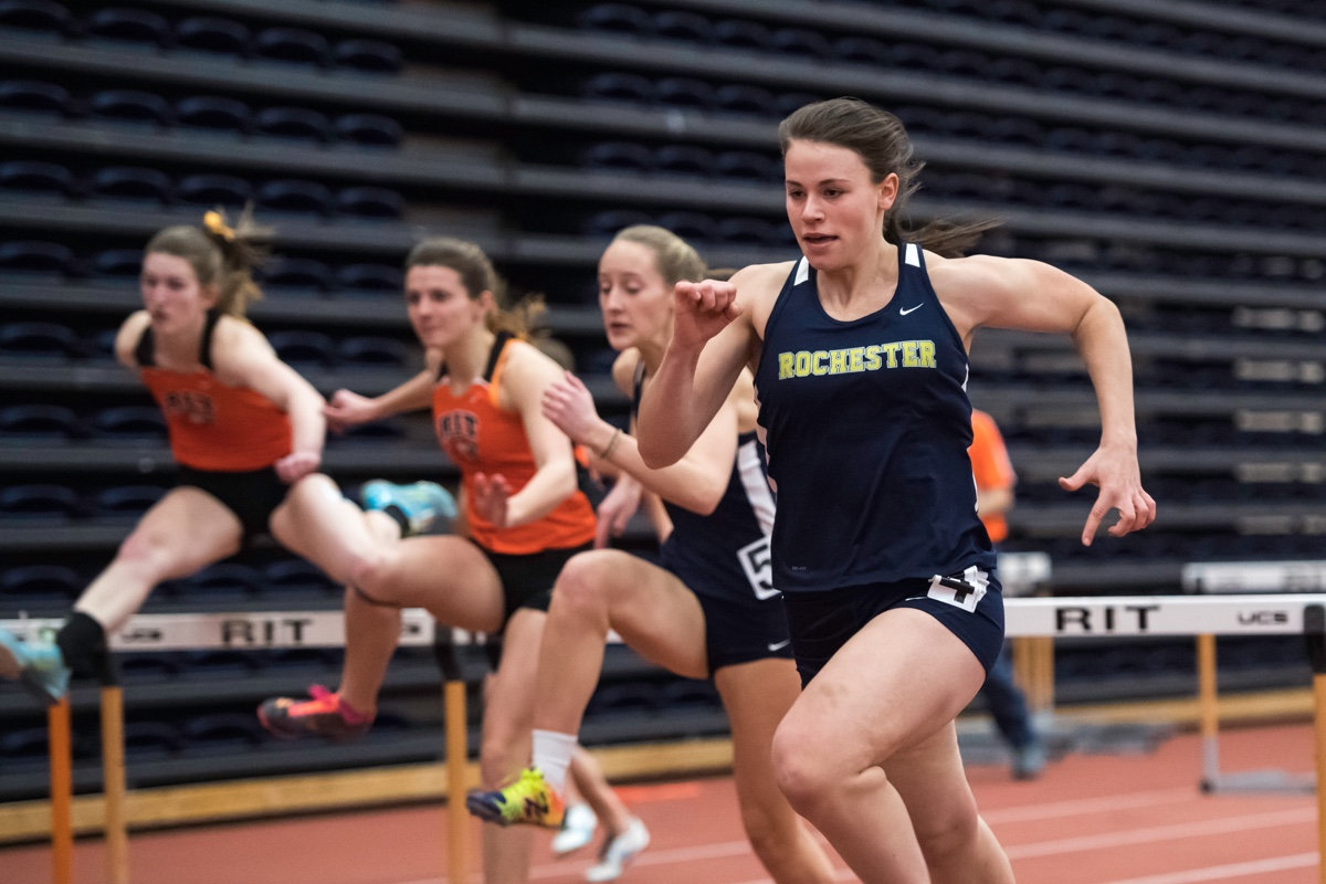 University of Rochester track athlete running in a race