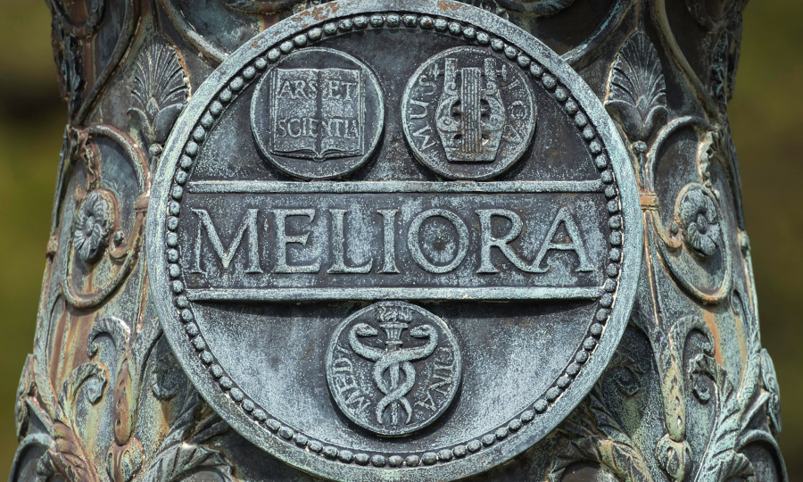 Meliora seal at University of Rochester