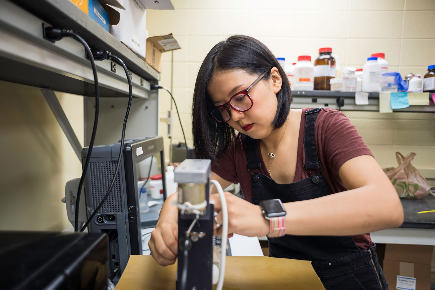 Tier one research student in lab at University of Rochester