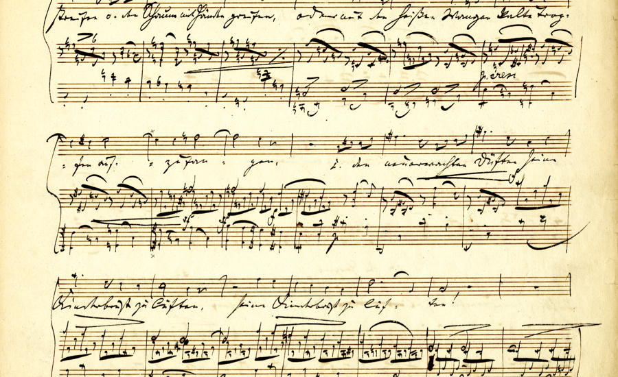 close-up of a sheet of music from the Sibley Library collection of scores.