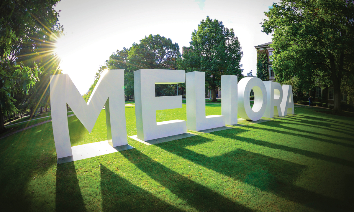 Meliora signage on University of Rochester campus