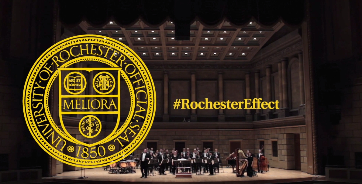 scene inside Eastman Theater with the words ROCHESTER EFFECT