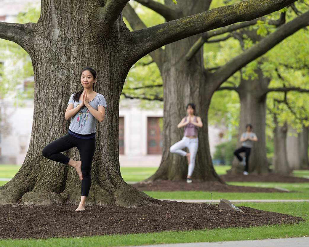 Three students standing in front of three trees doing yoga tree pose at University of Rochester