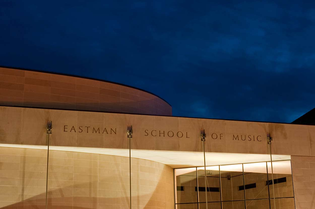 Eastman School of Music building with music school name