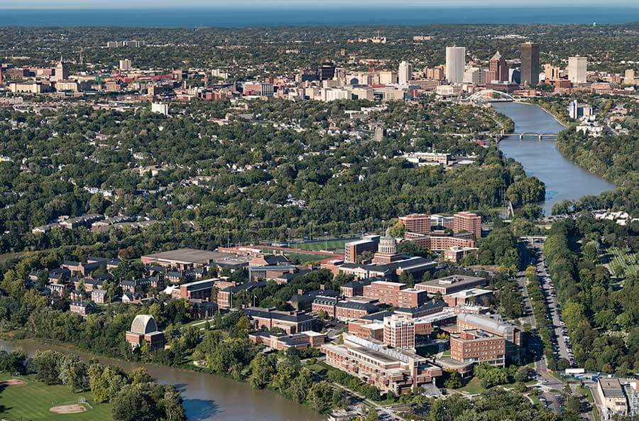 Aerial image over Rochester, a tier one research university