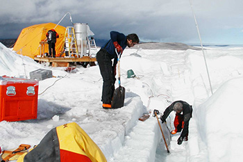 Ice sampling in West Greenland.