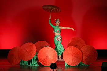 Members of the Chinese Dance Company of Rochester perform a piece titled, 'Red is Red, Green is Green'.