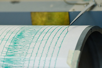 Seismograph at the University of Rochester following a magnitude 8.9 earthquake that originated off the coast of Japan March 11, 2011.