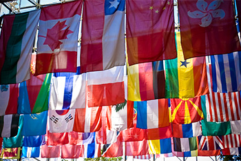Flags in Wilson Commons