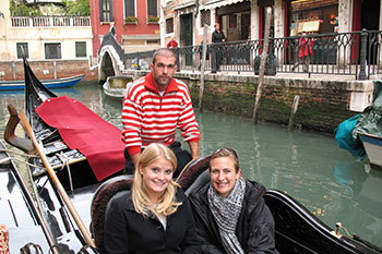 Students in a gondola in Venice