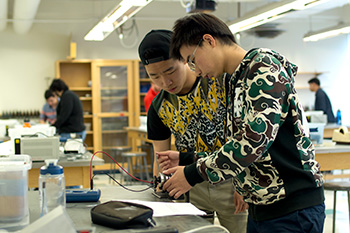 Students working on a physics project