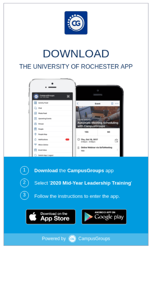 campus groups app display. Text reads (1) Download the campus groups app, (2) Select 2020 Mid Year Training, (3) Follow the instructions to enter the app.