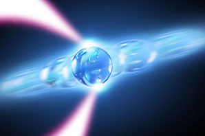 "Rochester researchers are trapping nanoparticle-sized silica beads in an ""optical tweezer"" in a series of experiments that could shed new light on the fundamental properties of lasers–and perhaps lead to better sensors and other devices. (University illustration / Michael Osadciw)"
