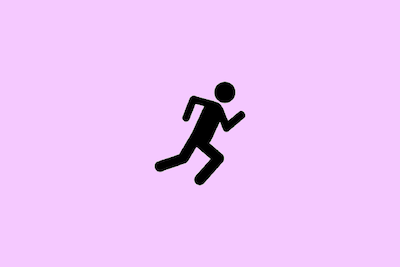 Black line drawing of a person running