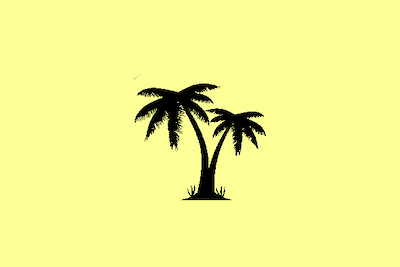 Black line drawing of a palm tree