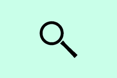 Magnifying glass illustration over pale green background