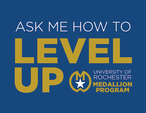 Ask me how to level up adjacent to the medallion program logo