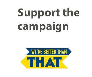 Logo reads: We're Better Than That -- The University of Rochester's Anti-Racism Campaign