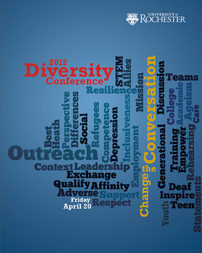 conference program cover has a word cloud with workds like OUTREACH, CONVERSATION, and CHANGE