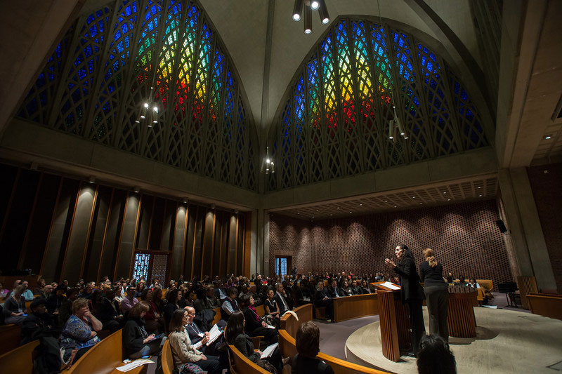 Lani Guinier speaking on stage at Interfaith Chapel