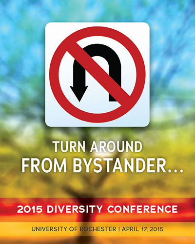 conference program cover reads TURN AROUND FROM BYSTANDER