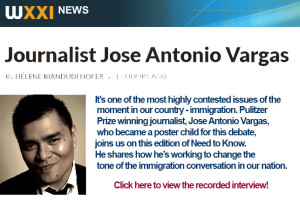 screenshot of WXXI article with a headline that reads JOURNALIST JOSE ANTONIO VARGAS