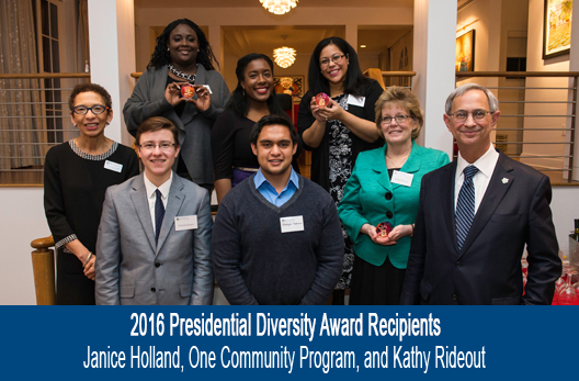 back, l-r: winners Janice Holland; Seqouoia Kemp and Jessica Guzman-Rea ((both of One Rochester); front l-r: University of Rochester vice provost for faculty development and diversity Vivian Lewis, winners Nicholas Kasper and Shahyan Rehman (both of One Rochester), winner and UR School of Nursing Dean Kathy Rideout, and president Joel Seligman and present 2016 University of Rochester Diversity Awards reception at Witmer House January 20, 2016. University of Rochester // photo by J. Adam Fenster / University of Rochester
