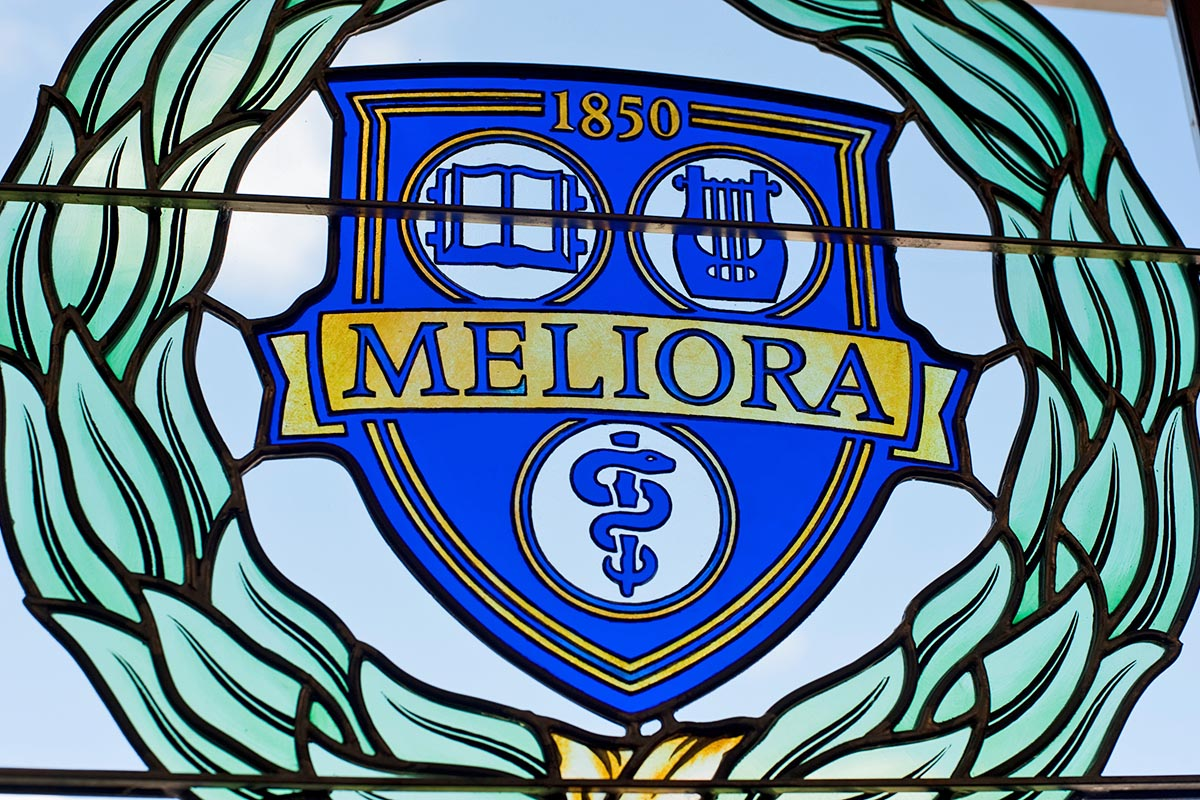 Meliora stained glass window