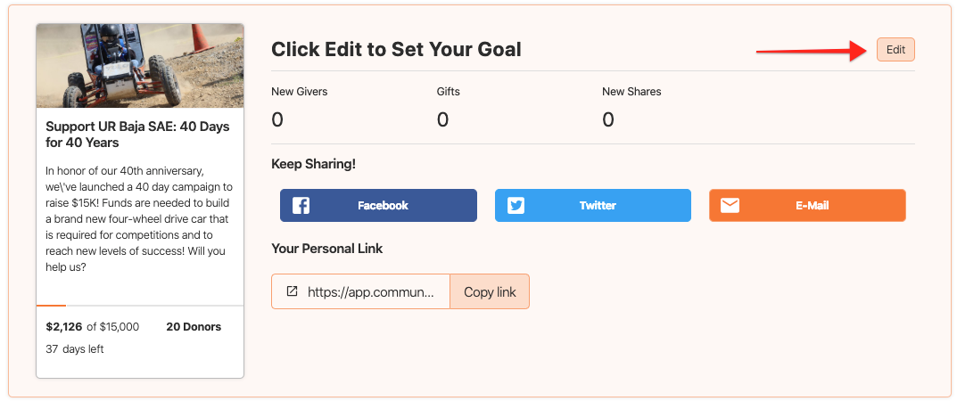 become a champion admin dashboard page with settings