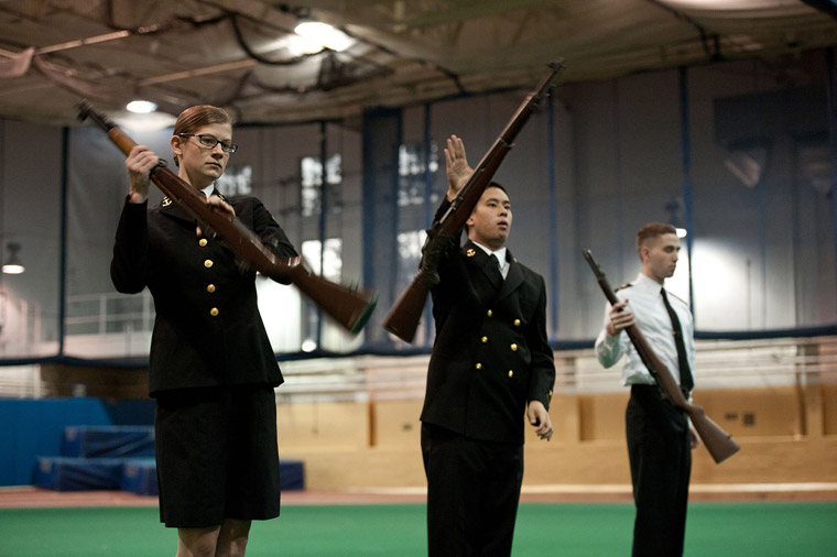 NROTC midshipmen drilling