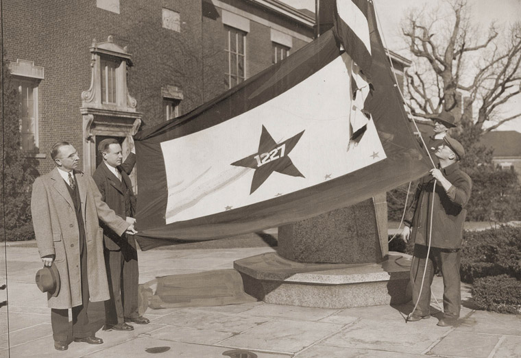 World War II flag raising