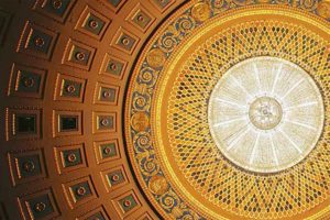 ceiling of the eastman theatre and chandeller