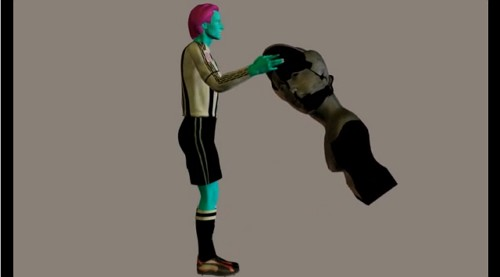 graphic of man in referee outfit, picking up statue