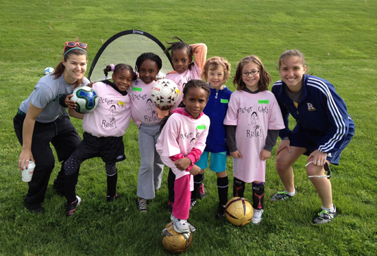 kids and students with soccer balls
