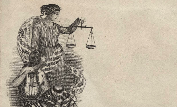 drawing of blindfolded Lady Justice