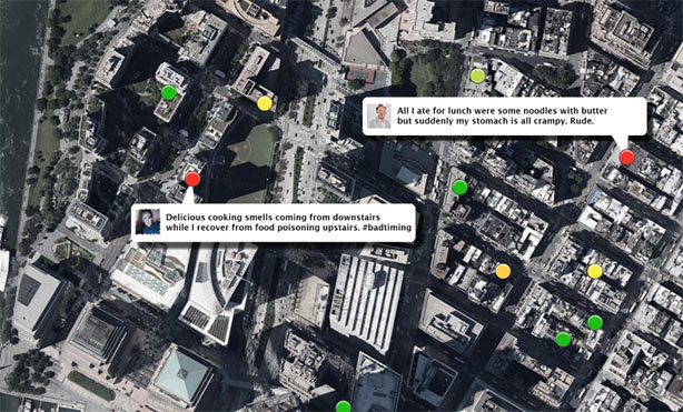 tweets about food illness overlaying a cityscape