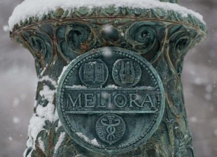 Meliora flagpole in the snow