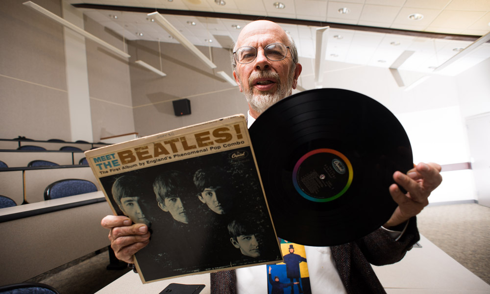 Richard Sorrell with his Meet the Beatles album