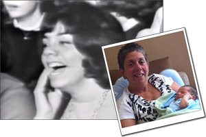 still image of screaming girl on the Ed Sullivan telecast, with a smaller image of the same woman with her grandson.