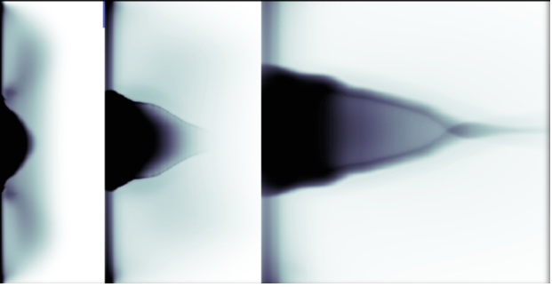 Experimental x-ray radiographs showing collimation of jets