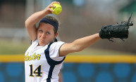 softball pitcher Elani Wechsler during the windup