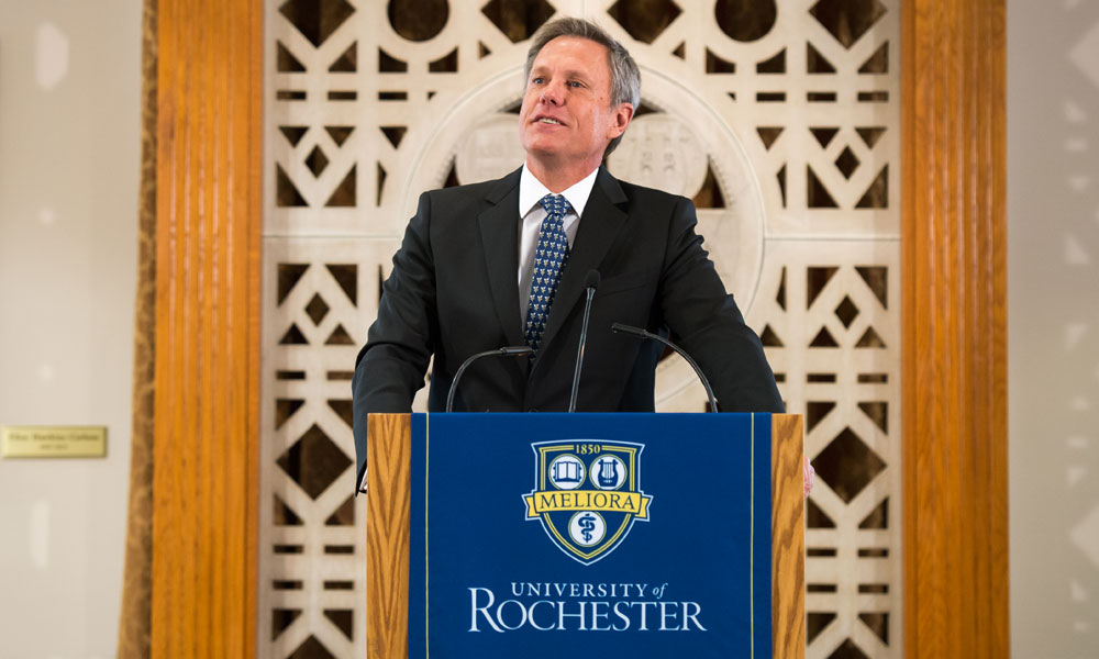 Andrew Ainslie, currently of UCLA Anderson School of Management, makes remarks after he was introduced as the new dean of the Simon Business School during an announcement in Rush Rhees Library on Friday, May 2.