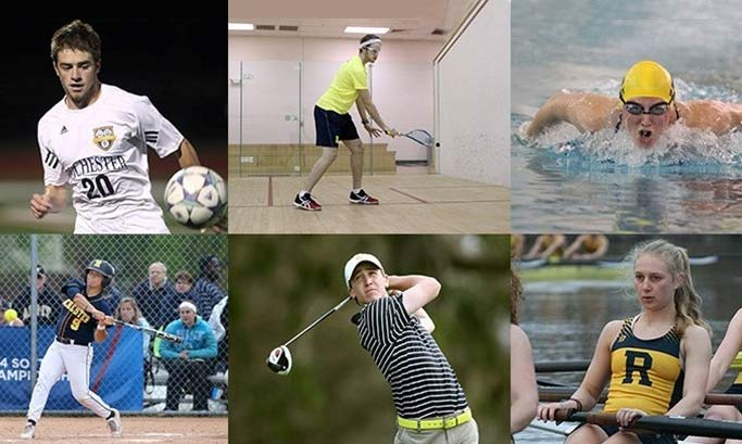 collage of students doing sports